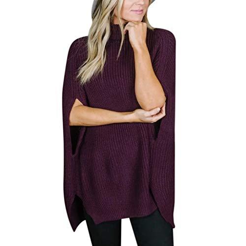 AMUSTER Damen Pullover Oberteil Poncho Winter Warm Langarm Asymmetrische Pulli Sweatshirt Fledermausärmel Rollkragenpullover für Damen
