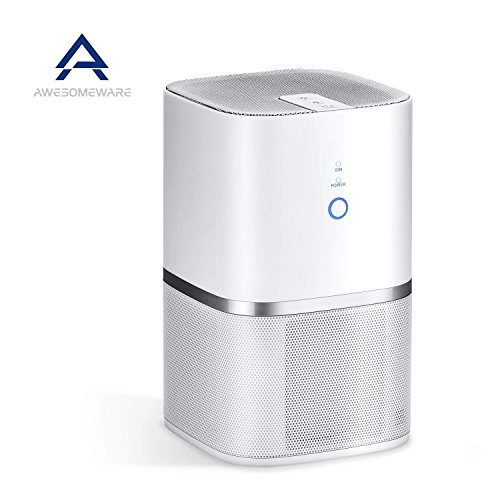 AwesomeWare Desktop Air Purifier for Smallroom with Ionizer & Triple True HEPA Filter Desktop Air...