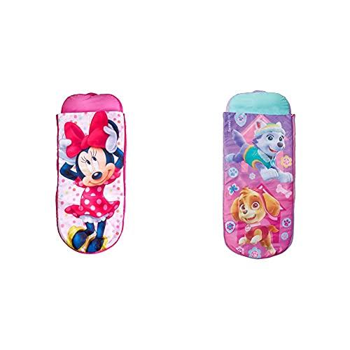 Readybed Minnie Mouse Cama Hinchable Y Saco De Dormir Infantil Dos En Uno, Poliéster, Rosa + Paw Patrol, Cama De Aire Inflable con Saco De Dormir para para Niños, 150 X 62 X 20 Cm, Multicolor