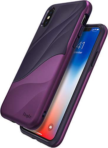 Ringke Wave Custodia Compatibile con Apple iPhone XS, Salvaguardia dello Strato TPU Interno Morbido Rigida per PC Pesante Assorbimento Design Fluente del Movimento Cover iPhone X - Metallic Purple