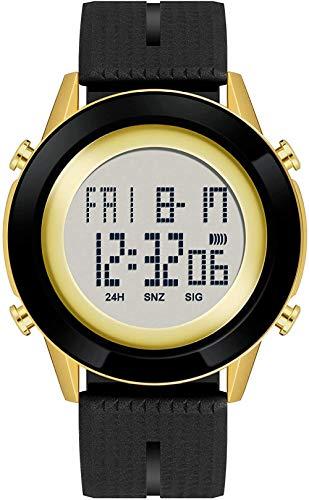 Relojes digitales impermeables para hombre, cronómetro, correr, deportes, vestido de pulsera, color negro y dorado
