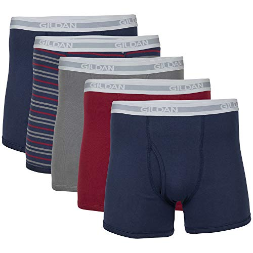 Gildan Men's Short Leg Boxer Briefs, Multipack, Mixed Blue (5-Pack), Medium