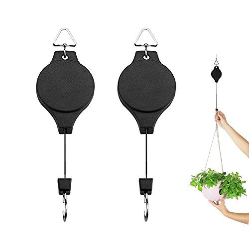 Yuccer Pflanzen Aufhängung, 2 Stück Schwarz Einziehbar Blumenhaken Einstellbar Vogelhaus Aufhängung