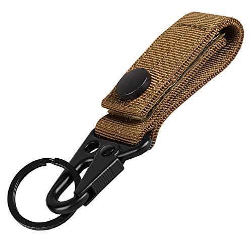 XTACER Tactical Molle Key Ring Gear Keeper Keychain Snap Secure Belt Webbing Keychain Tan/BK