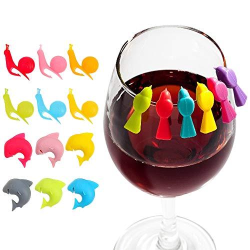 MOPOIN Glas Markierung, Teebeutel Halter Wiederverwendbare Glasmarkierer aus Silikon Silikon Süßer Teebeutel Halter für Tassen und Party Weinglas Marker 3 Formen, 18Stück
