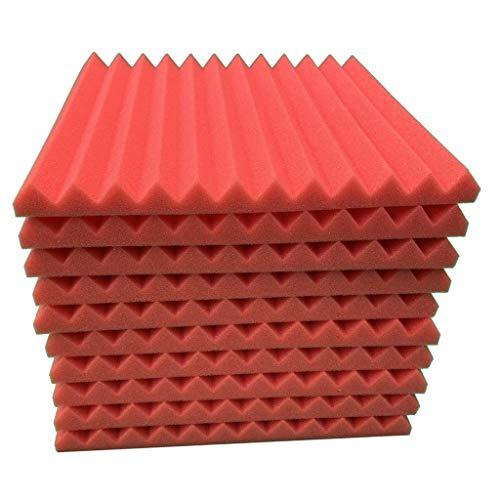 Briszz Akoestisch schuimplaat geluidsisolatie spons studio geluidsdicht akoestische platen schuimstof zelfklevend muur plafond design 30x30x2.5cm rood