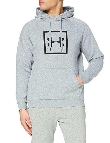 Under Armour Rival Fleece Box Logo Hoodie, Running Hoodie with Graphic Logo, Hooded Jumper for Men with Pocket Men, Grey (Steel Light Heather/Black), X-Large