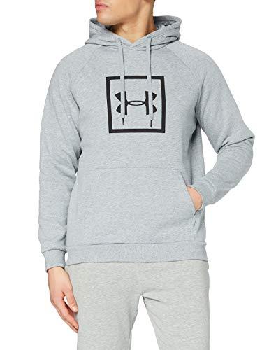Under Armour Herren Rival Fleece Box Logo Hoodie sportlicher Kapuzenpullover, robustes und dehnbares Sweatshirt, Grau (035), MD
