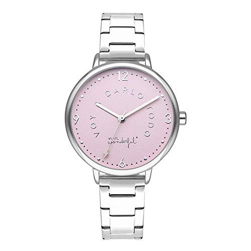 Mr wonderful Shine and Smile Reloj para Mujer Analógico de Cuarzo con Brazalete de Acero Inoxidable WR10100
