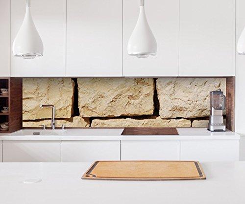 Aufkleber Küchenrückwand Stein Mauer Steinmauer Steine Bims Folie selbstklebend Fliesen Möbelfolie Spritzschutz 22A1097, Höhe x Länge:60cm x 300cm
