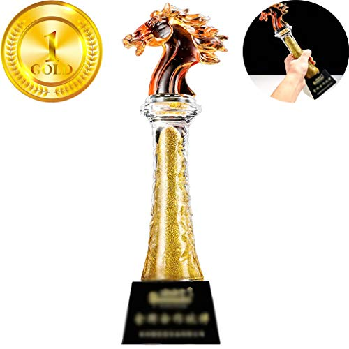 Trofee Baseball Team League Crystal Trophy High-end Company Paardvormige Trofee Medaille Goed Betekenis Gratis Letters (Color : Gold, Size : 30 * 8cm)