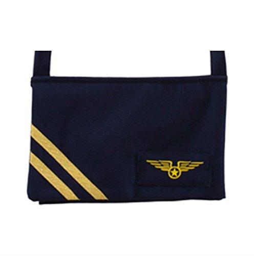 NET TOYS Stewardess Tasche Flugbegleiterin Handtasche blau Jet Set Pilotentasche Pilotin Fliegertasche Flugzeug Damentasche Pilotenkostüm Damenhandtasche Karnevalskostüme Accessoires Damen