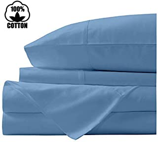 Nish & Joe 100% Cotton Bed Sheet, 300-Thread-Count Extra Long Staple, Luxurious Sateen Weave , 3-Pc Twin Sheet Set,Fits Mattress Upto 15''fit Deep Pockets, Fade & Stain Resistant - Twin, Light Blue