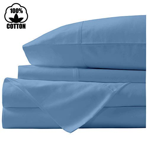 Nish & Joe 100% Cotton Bed Sheet, 300-Thread-Count Extra Long Staple, Luxurious Sateen Weave , 4-Pc King Sheet Set,Fits Mattress Upto 15''fit Deep Pockets, Fade & Stain Resistant - King, Light Blue