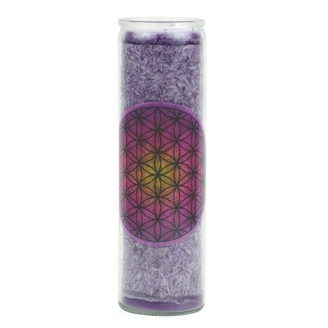 Yogabox - Candela profumata, motivo fiore della vita, viola