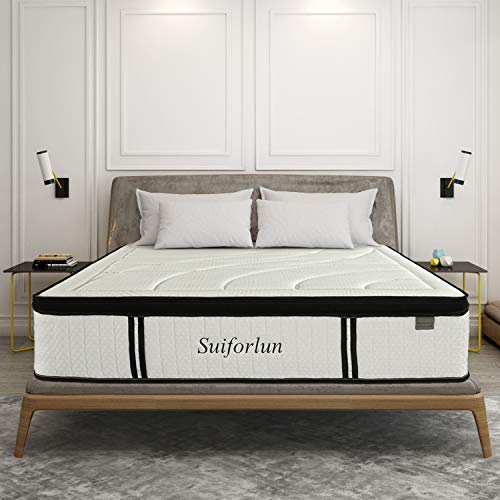 Suiforlun 14 Inch Hybrid Gel Memory Foam and Innerspring Mattress, Breathable Bamboo Cover for Sleep Cool, 3-Zone Pocket Spring for Motion Isolation & Targeted Support, CertiPUR-US Certified, Queen