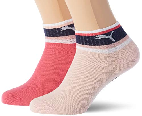 PUMA PUMA Stripe Girl's Quarter Socks (2 pack) Casual Sock, unisex-child, Mehrfarbig 35/38 EU
