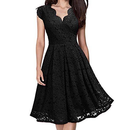 TWIFER Damen Somemr Armelloses Kleid V-Ausschnitt Schulterfrei Spitze Abendkleid Brautkleid