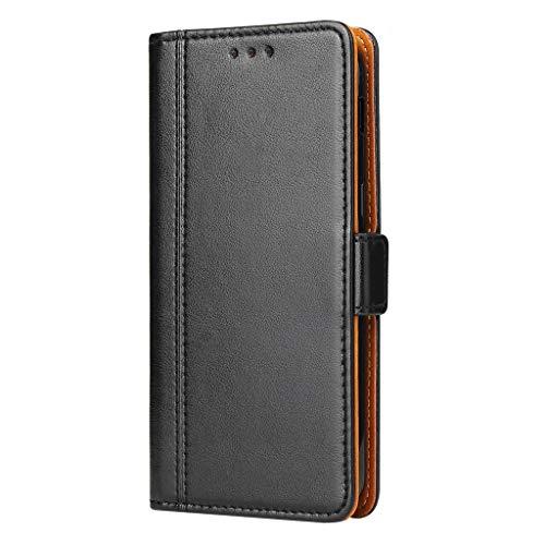 Bozon Lederhülle Hülle für Samsung Galaxy J7 (2017) DUOS - Cover Flip Tasche mit Ständer & Kartenfächer - Schwarz