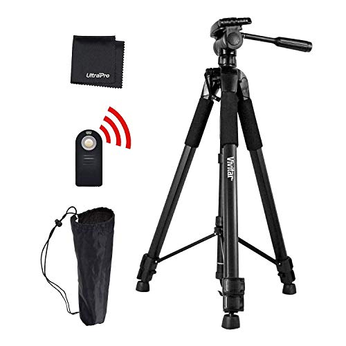 "UltraPro 72"" Inch Black Heavy Duty Aluminum Camera Tripod + Wireless Remote Bundle for Canon Digital Cameras, Includes UltraPro Microfiber Cleaning Cloth"