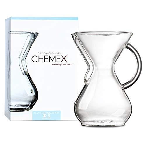 Chemex Kaffee Zubereiter, Edelstahl, rostfrei, Farblos, mit Glasgriff, für bis zu 6 Tassen