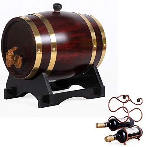 GPWDSN Barrel do whisky beczka do whisky 1,5 l, w stylu vintage, z wbudowaną podkładką foliową i regałem na wino do przechowywania piwa, wina, whisky, miodu (vintage 1,5 l)