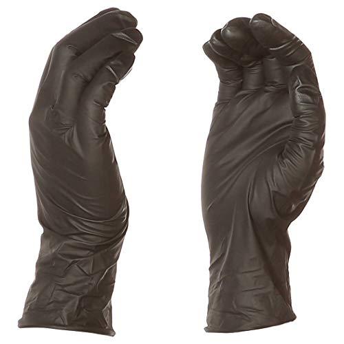 AmazonBasics Guantes de nitrilo desechables sin polvo, 0,152 mm, negro, talla L, 100 por paquete, paquete de 10