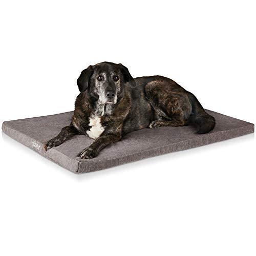 ONVAYA® Hundekissen orthopädisch aus Memory Foam | 95 Grad waschbar | grau | Größe S-XXL | Hundebett | Hundematratze | Hundematte | Liegekissen (L (89 x 60 x 5 cm))
