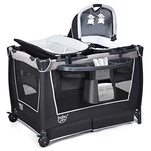GOPLUS 4 in 1 Reisebett, Laufgitter Wiege Windeltisch, ab Geburt bis 15 kg, mit Matratze&Wickelauflage, Mobil & Faltbar, mit Anhänger&Musik, mit Ablage, mit Tragetasche (Grau)