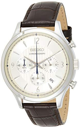 SEIKO Reloj Analógico para Hombre. de Cuarzo con Correa en Piel SSB341P1