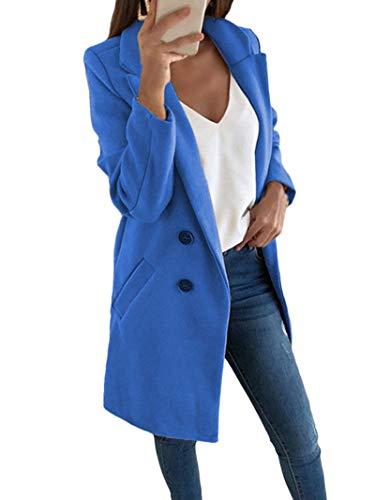 Onsoyours Damen Blazer Winter Mantel Elegant Warm Wintermantel Steppmantel Knopf Klassische Vintage Zweireihig Revers Schlack Slim Fit Trenchcoat mit Taschen Blau 44