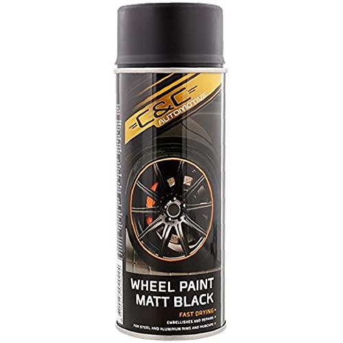 Barniz para llantas en aerosol, negro mate, 400 ml, color negro