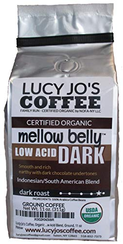 Lucy Jo's Coffee, Organic Mellow Belly DARK Low Acid Blend, Ground, 11 oz
