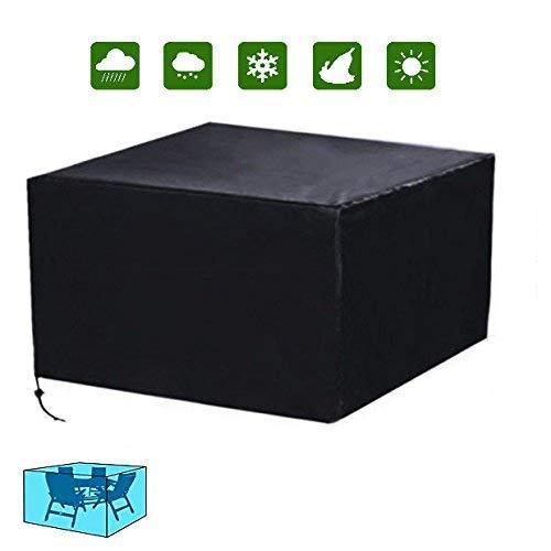 Ciaoed Funda para Muebles de Jardín Impermeable para Cubierta Protectora de Mesas Negro 123 x 123 x 74cm