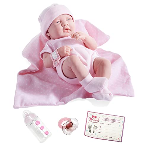 JC Toys 18541 La Newborn Boutique 14 Inch Doll, 9 Piece Set, Real Girl in Pink