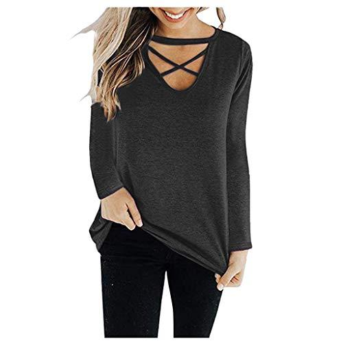 Blusa para mujer de otoño, con tira cruzada, monocromática, manga larga, sudadera con capucha small gris