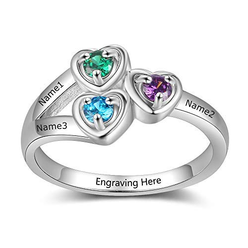 Personalised Family Sterling Silver Rings for Women 925 - Grandma Mums Rings Gifts Sister Jewellery - Customised Couple Rings for Lovers - 3 Heart Simulated Birthstone 3 Engraved Name Size S