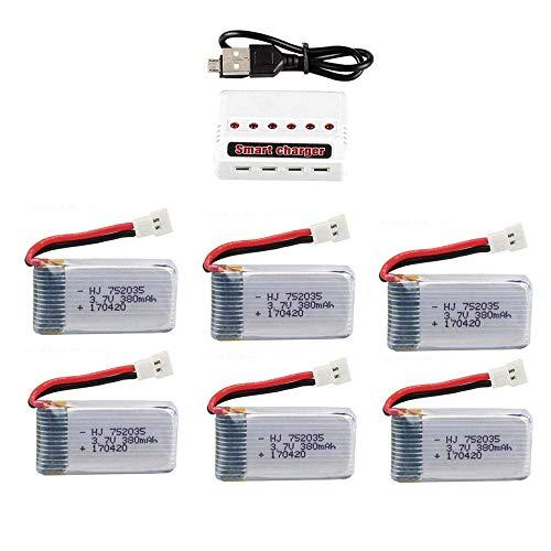 GzxLaY Set di batterie lipo 3,7 V 380 mAh per Hubsan X4 H107 H107L H107D JD385 JD388 RC Parti di Elicottero 752035 Batteria-C_5PCS ( Color : 6pcs )