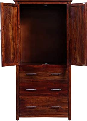 Shilpi Handmade Perfect Size Solid Wood Two Door Wardrobe with External Drawers in Honey Finishing for Living Room