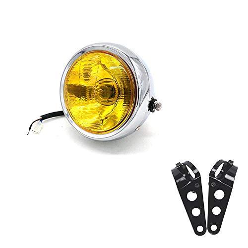 """RONSHIN 6,5\""""DC 12V Moto Vintage Head Lamp Scooter Round Spotlight Motor Front Lights Faro Universale refit Moto con staffe Argento Giallo Auto Accessori"""