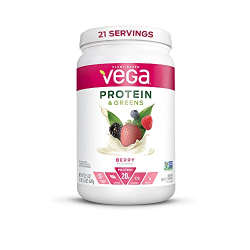 Vega Protein and Greens, Berry, Vegan Protein Powder, 20g Plant Based Protein, Low Carb, Keto, Dairy Free, Gluten Free, Non GMO, Pea Protein for Women and Men, 1.3 Pounds (21 Servings)