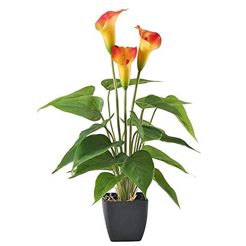 Athemeet Gefälschte Blumen Pflanzen orange Artificial Calla-Lilien-Blumen Künstliche Topfpflanze im Freien Garten-Hang Innen Zuhause Küche Büro Tischdekoration Vase Korb Topf Herbstdekorationen
