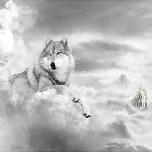 Photo Wallpaper White Wolf Clouds Animals Black and White Wall Mural Non-Woven Art Print Giant Poster Picture 3D Modern Design Wallposter for Living Room Bedroom Home Decoration, 350x256cm