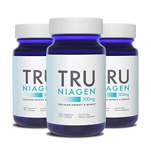 TRU NIAGEN NAD+ Booster for Cellular Repair & Energy Metabolism (Nicotinamide Riboside) - 300mg Vegetarian Capsules, 300mg Per Serving - 30 Day Bottle (3 Pack)