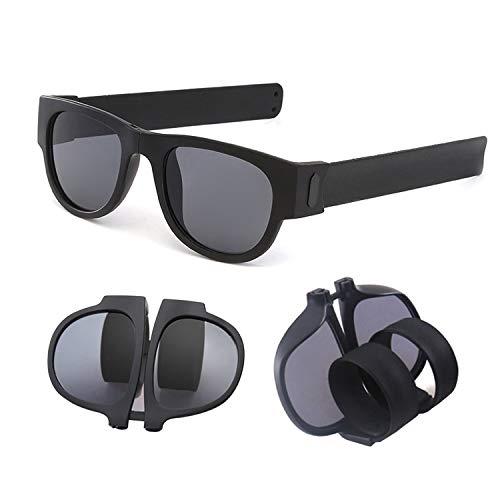 JEEZAO Hochwertige Unisex Sonnenbrille Polarisierte Fahren Sonnenbrille Gläser PC Rahme Ultra Leicht Faltbar, Kann auch als Mode Armband Verwendet Werden (Schwarz)