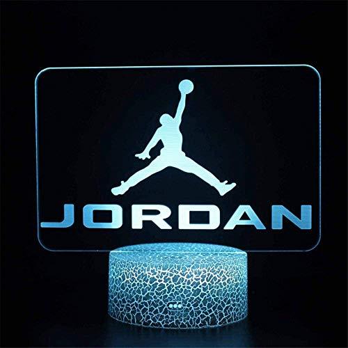 Lámpara de noche LED de ilusión 3D de baloncesto con mando a distancia, regalo de cumpleaños para niños y adultos adolescentes