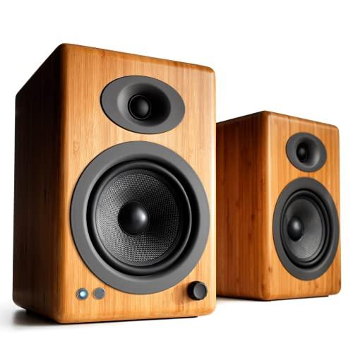 Audioengine A5+ Plus Wireless Speaker | Desktop Monitor Speakers | Home Music System aptX HD Bluetooth,150W Powered Bookshelf Stereo Speakers, AUX Audio, USB, RCA Inputs/Outputs, 24-bit DAC (Bamboo)