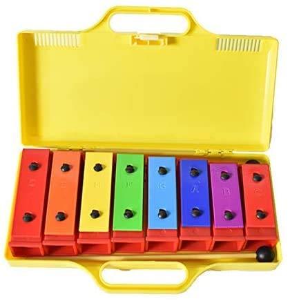 ENNBOM 8 Notes Chromatic Xylophone Glockenspiel Resonator Bells with Yellow Case