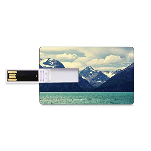 4 GB USB Flash Thumb Drives Nature Bank Credit Card Shape Business Key U Disk Memory Stick Storage Snowy Northern Norway Mountains and Atlantic Coastline Picture Print,White Dark Blue Personalized Gif