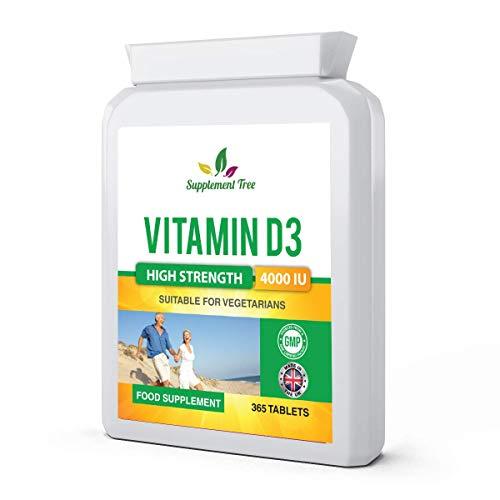 Vitamin D 4000IU 365 Vegetarian Tablets   High Strength Cholecalciferol Vitamin D3 Supplement   UK Manufactured